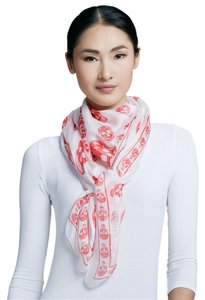Alexander McQueen Ivory/Red Skull-Print Chiffon Scarf