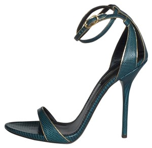 Dolce&Gabbana Reptile Iguana Print Leather Stiletto Heels Ankle Strap Wrap Gold Trim blue-green Sandals
