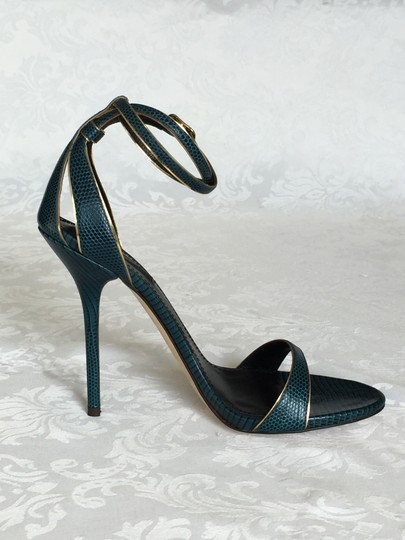 Dolce&Gabbana Reptile Iguana Print Leather Stiletto Heels Ankle Strap Wrap Gold Trim blue-green Sandals Image 1