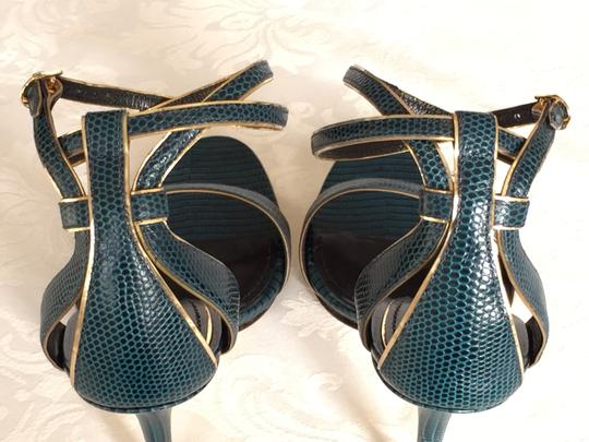 Dolce&Gabbana Reptile Iguana Print Leather Stiletto Heels Ankle Strap Wrap Gold Trim blue-green Sandals Image 5
