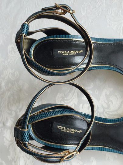Dolce&Gabbana Reptile Iguana Print Leather Stiletto Heels Ankle Strap Wrap Gold Trim blue-green Sandals Image 6