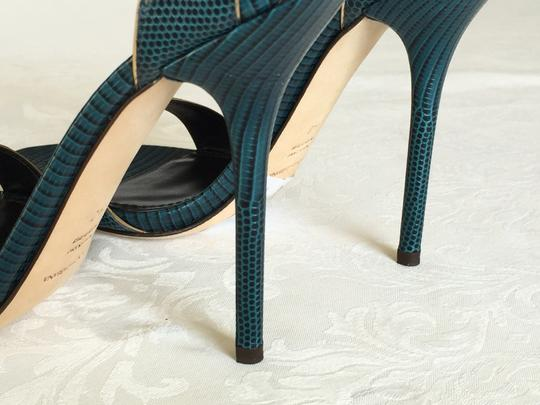 Dolce&Gabbana Reptile Iguana Print Leather Stiletto Heels Ankle Strap Wrap Gold Trim blue-green Sandals Image 7