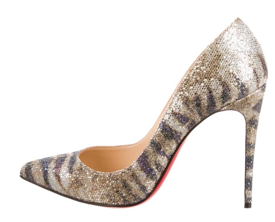 spooky shoes price - Christian Louboutin Gold-tone Slate Glitter Pigalle 100 Grey ...