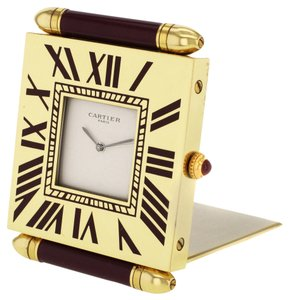 Cartier Cartier Table Clock Yellow Plated Stainless Steel (7099)