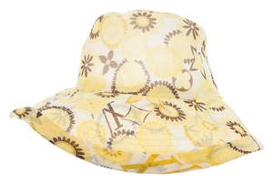 Louis Vuitton Yellow, brown multicolor LV logo floral print Louis Vuitton silk bucket hat New