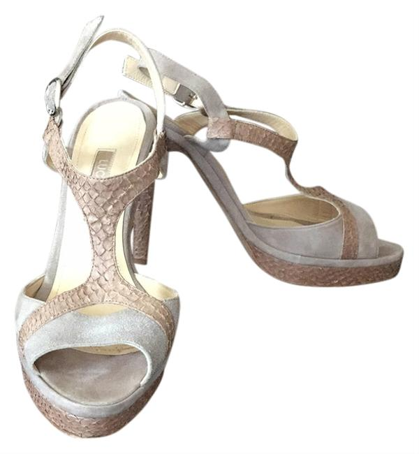 Luca Luca Grey and Rose T Strap with Platform Pumps Size US 7 Regular (M, B) Luca Luca Grey and Rose T Strap with Platform Pumps Size US 7 Regular (M, B) Image 1