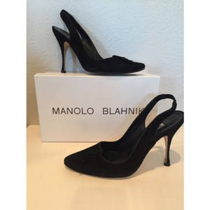 Manolo Blahnik Suede Ruffle Black Pumps