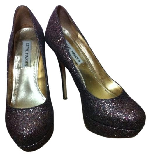Steve Madden Black With Multi-color Sparkle Pumps