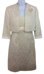Tahari Beige Jacquard Sheath Dress