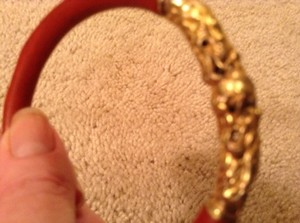 Cinnabar And Gold Enamel Chinese Bracelet