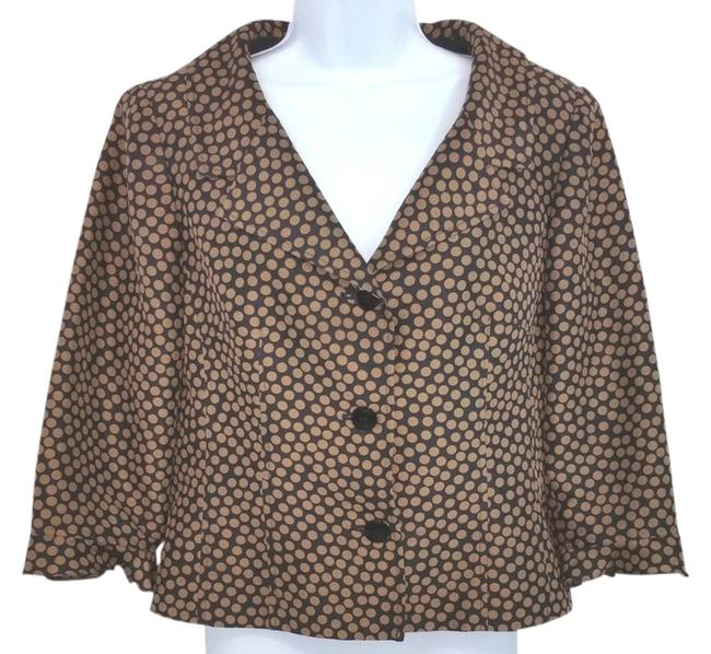 Item - Brown and Black Polka Dot Print Blouse Size 10 (M)