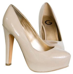 Guess Patent Leather Chunky Heel Cream Platforms
