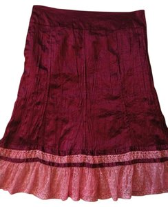 3 Sisters Silk Skirt Dark Red