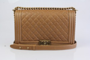 Chanel Brown Quilted Caviar Cc Ch.k0127.05 Shoulder Bag