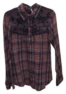 Free People Button Down Shirt Plaid