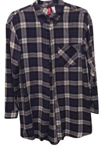 H&M Button Down Shirt Black & Blue Plaid
