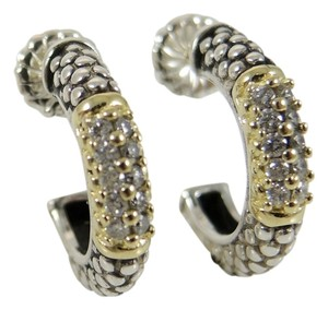 Lagos Lagos Sterling Silver 18K Yellow Gold .40tcw Diamond Caviar Hoop Earrings