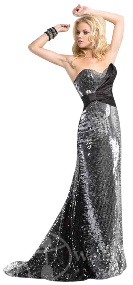82ab18f9b36 Maggie Sottero Black Silver Sequin P4680 Flirt Formal Bridesmaid Mob Dress