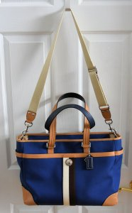 Coach Versatile Roomy Organized Hangtag Leather Trim blue Travel Bag