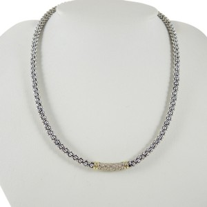 Lagos Lagos Sterling Silver 18K Yellow Gold .61tcw 4mm Pave Diamond Caviar Necklace