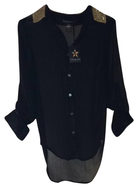 Item - Black with Gold Sequence Blouse Size 0 (XS)