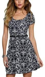Alloy Apparel short dress Black White Print Design Scoop Neck Short Sleeve Skater on Tradesy