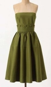 Maeve Olive Green Cotton Silk; Polyester Lining Style# 23144546 Retro Bridesmaid/Mob Dress Size 12 (L)