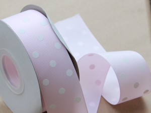 Pale Pink White Polka Dot Ribbon 1.5 Inches - 10 Yards - Pale Pink White Grosgrain Ribbon Wide Grosgrain Ribbon