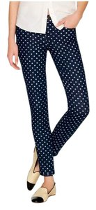 J.Crew Skinny Pants Navy blue and white polka dot
