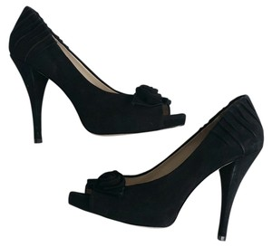 Boutique 9 Suede Peep Toe Heels Black Pumps