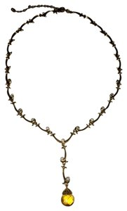 Other Gold Tone Necklace with Amber Gemstone