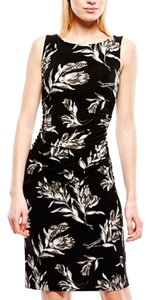 Kamalikulture Black Print Floral Taupe Sleeveless Dress