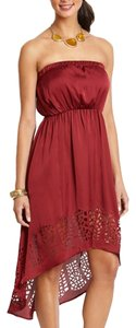Ya Los Angeles short dress Burgundy Red Strapless Laser Cut High Low on Tradesy