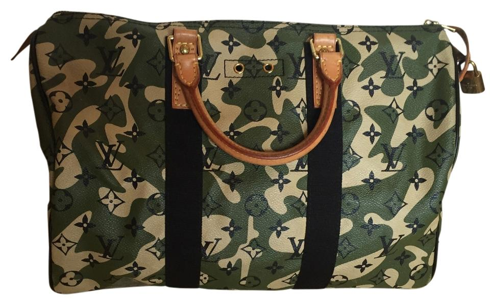 abd32231e161 Louis Vuitton Lv Limited Edition Speedy Lv Takashi Murakami Satchel in Army