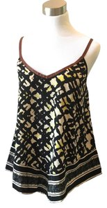 Patterson J. Kincaid Boho Leather Trim Top mixed print