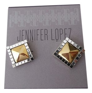 Jennifer Lopez NEW on Card JENNIFER LOPEZ JLO Gold & Silver Square Stud Earrings Sophisticated & Chic