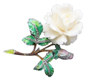 made in Germany Rose pin sterling silver Enamel Marcasite