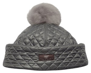 UGG Australia NEW UGG(R) Australia Quilted-Fabric Hat w/ Shearling Fur Pompom One Size $75