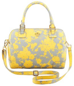 Tory Burch Daisy Crossbody Gold Hardware Floral Flower Spring Satchel in Grey, Yellow