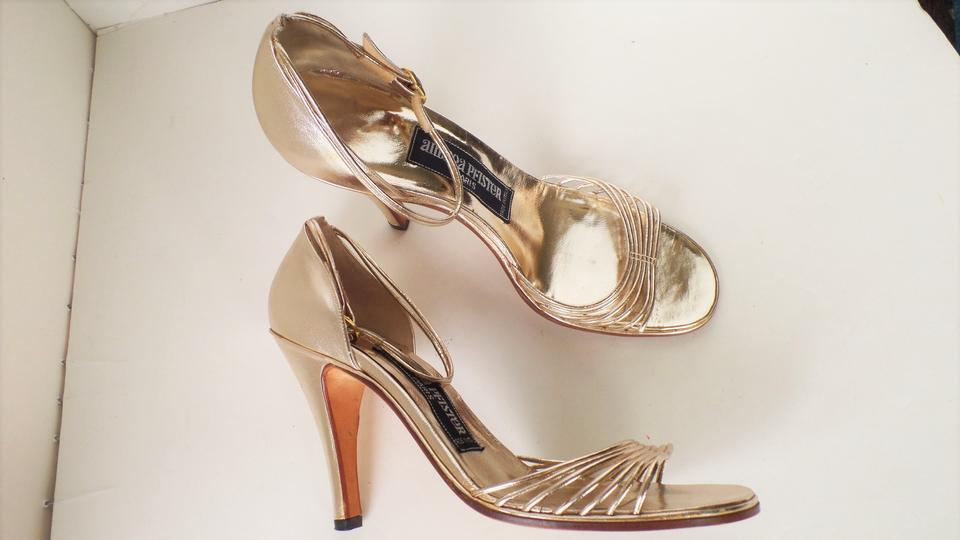 f57321e40b7 Andrea Pfister Couture Designer 80s Party Cocktail Vintage Leather Strappy  Gold Pumps Image 4. 12345