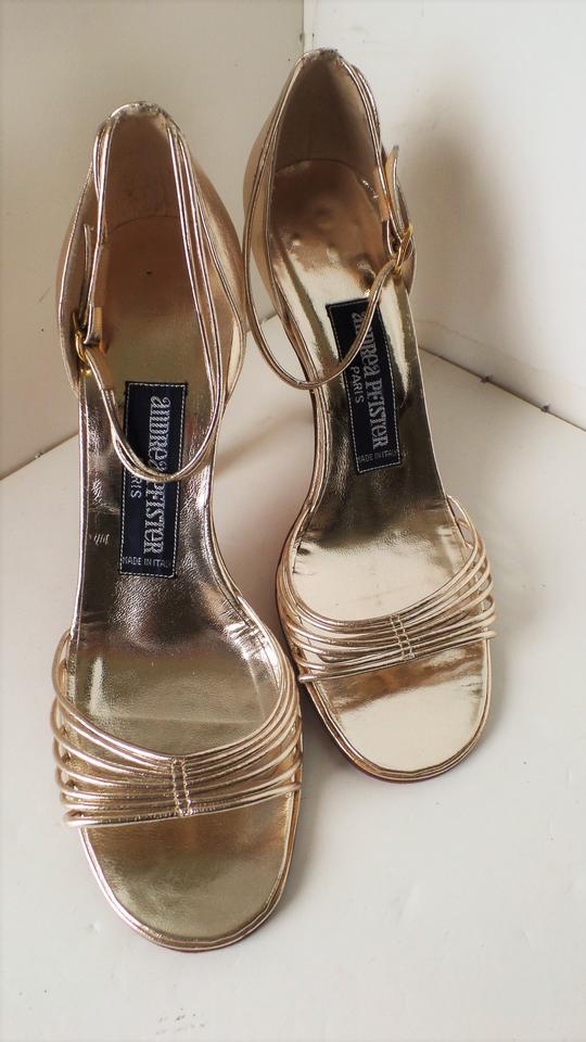 14d14ae9b5b Andrea Pfister Couture Gold 36.5 Vintage Strappy Sandals Pumps Size US 6  Regular (M