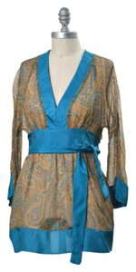 Twelfth St. by Cynthia Vincent Boho Sheer Sheath Tie-back Kimono Top multi-color