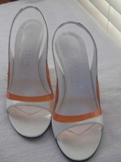 Anne Klein White with Orange trim Sandals