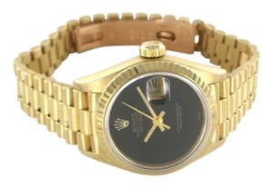 Rolex ROLEX 18K YELLOW GOLD WATCH BLACK DIAL DATE 69178 WRISTWATCH OYSTER PERPETUAL