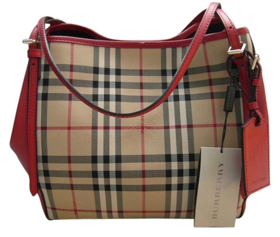 6bb7286aab5e Burberry Canter Small Horseferry Check   Leather Parade Red Tote ...