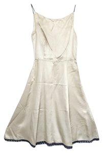 Prada Slip Lace Trim Cream Dress