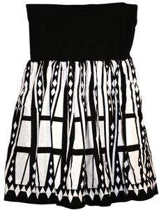 Alfani short dress black, white Cotton Tribal Strapless Print on Tradesy