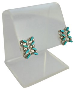 Silver and Turquoise Square Earrings
