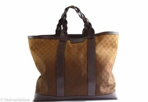 Gucci Mens Gg Cotton Tote in Brown