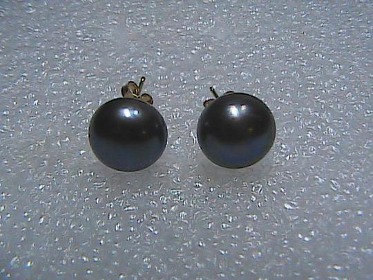 Other 14k Yellow Gold Gray Peacock Button Pearl Stud Pierced Earrings
